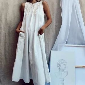 Zara A- Line Embroidery Collar Dress